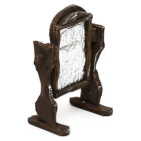 Specchiera legno e carta stagnola presepi 10 cm 10x5x5 cm s3
