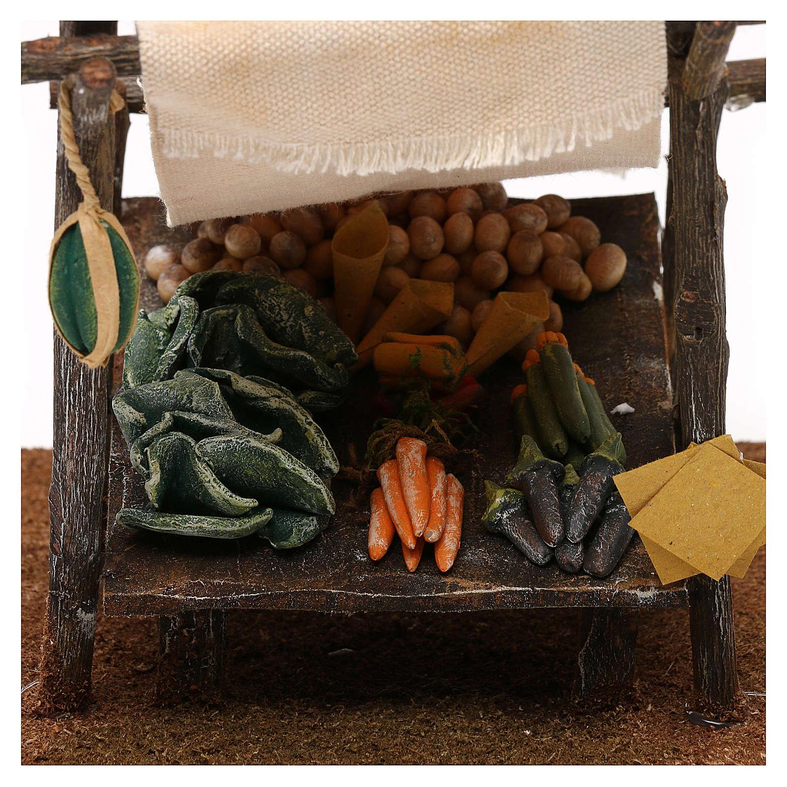 Banco fruttivendolo con tenda presepe 12 cm 15x20x20 cm 4