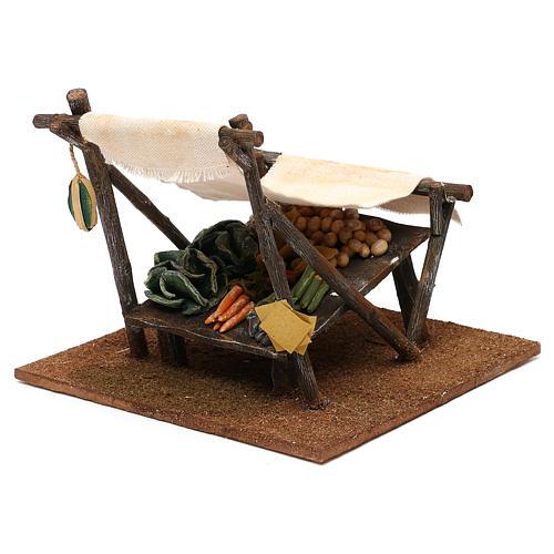 Banco fruttivendolo con tenda presepe 12 cm 15x20x20 cm 3