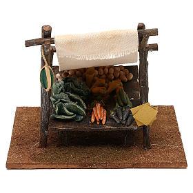 Ambientações para Presépio: lojas, casas, poços: Banca verdureiro com tenda 15x20x20 cm para presépio com figuras de 12 cm de altura média