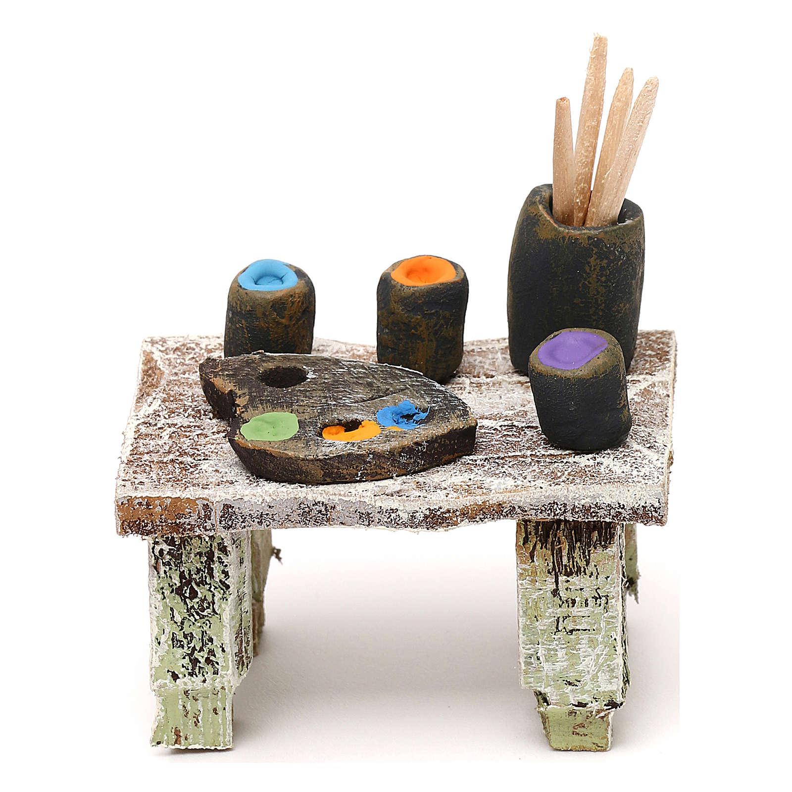 Painter's table with colours 12 cm 5x5x5 cm 4