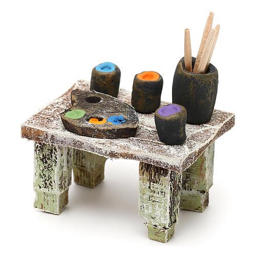 Painter's table with colours 12 cm 5x5x5 cm 2