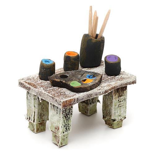 Painter's table with colours 12 cm 5x5x5 cm 3