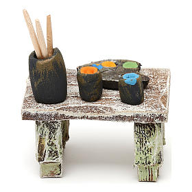 Tavolo pittore con colori presepe 12 cm 5x5x5 cm s4