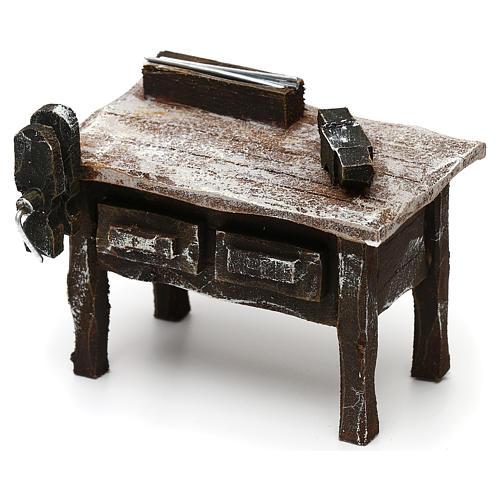 Mesa trabajo herrero con herramientas belén 12 cm 5x10x5 cm 2