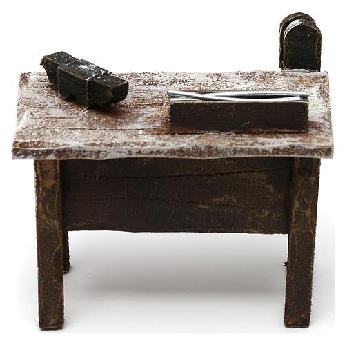 Mesa trabajo herrero con herramientas belén 12 cm 5x10x5 cm 4