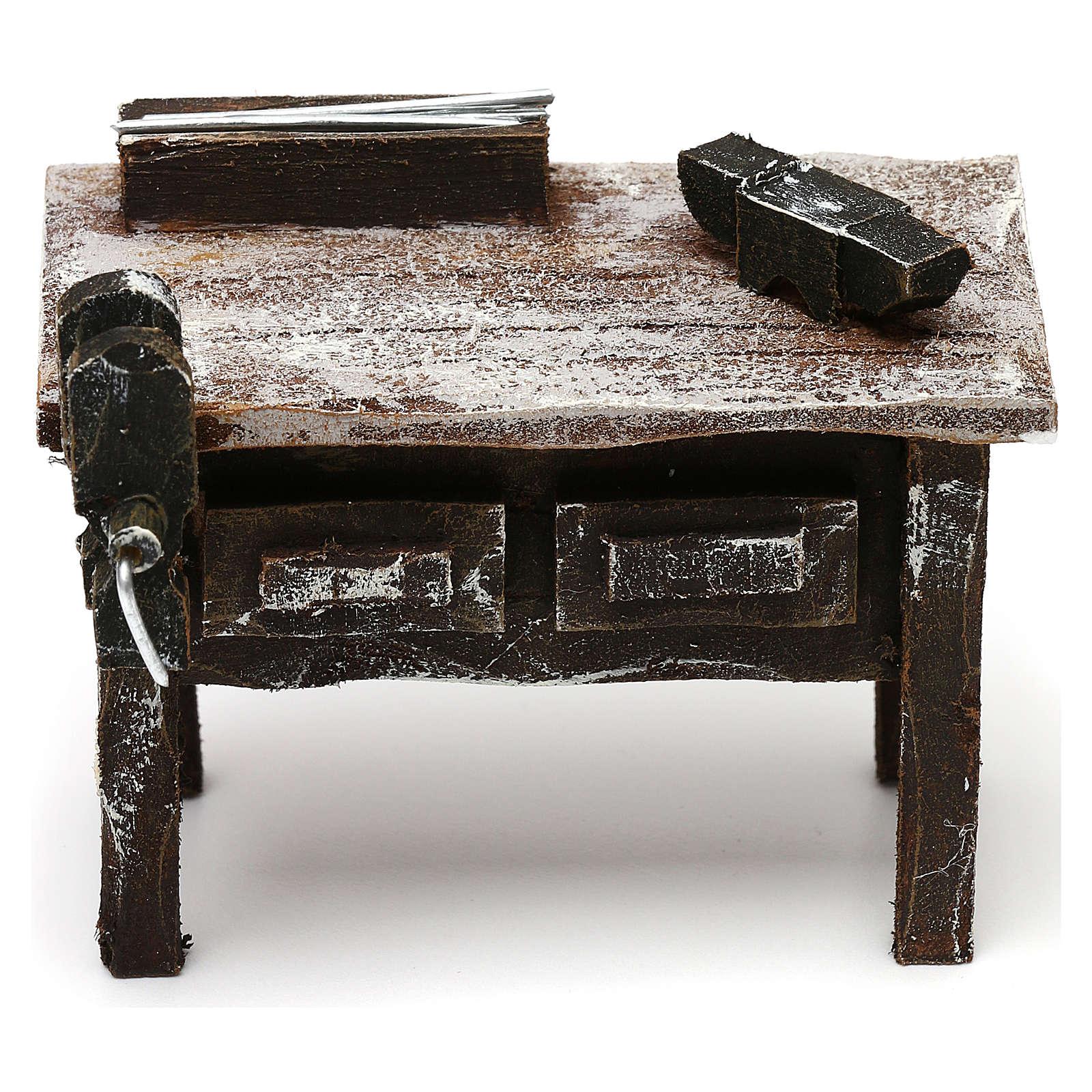 Tavolo lavoro fabbro con attrezzi presepe 12 cm 5x10x5 cm 4