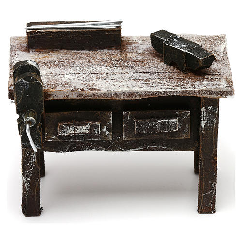 Tavolo lavoro fabbro con attrezzi presepe 12 cm 5x10x5 cm 1