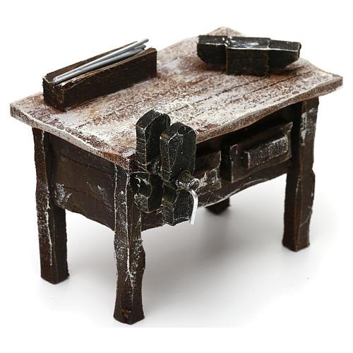 Tavolo lavoro fabbro con attrezzi presepe 12 cm 5x10x5 cm 3
