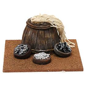 Ambientações para Presépio: lojas, casas, poços: Barril com cestas peixe 5x15x15 cm para presépio com figuras de 12 cm de altura média