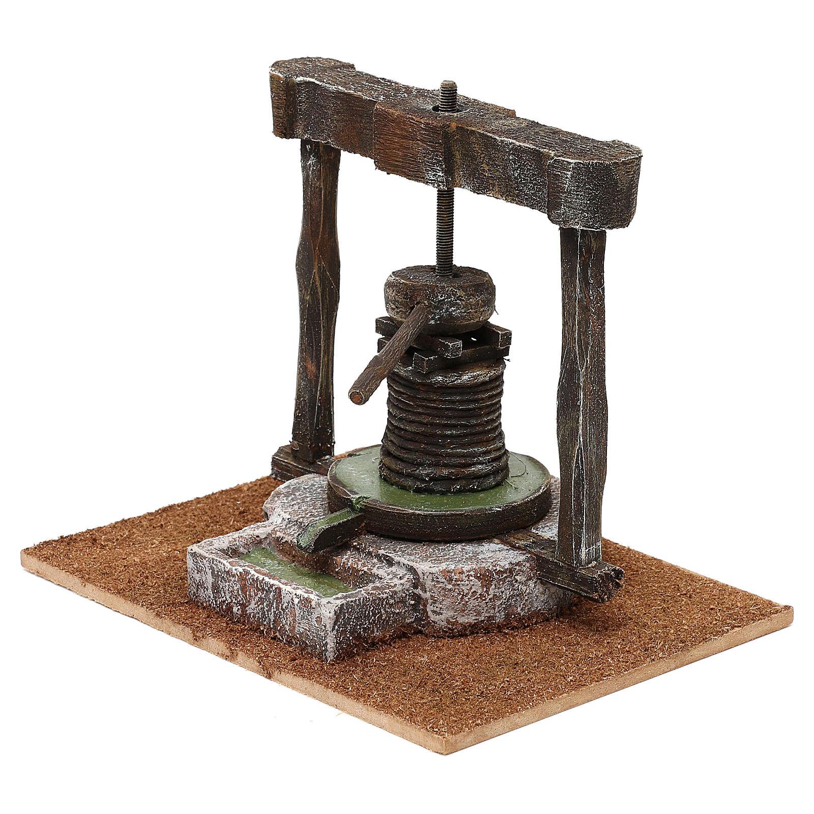 Torchio legno resina presepe 12 cm 15x15x20 cm 4