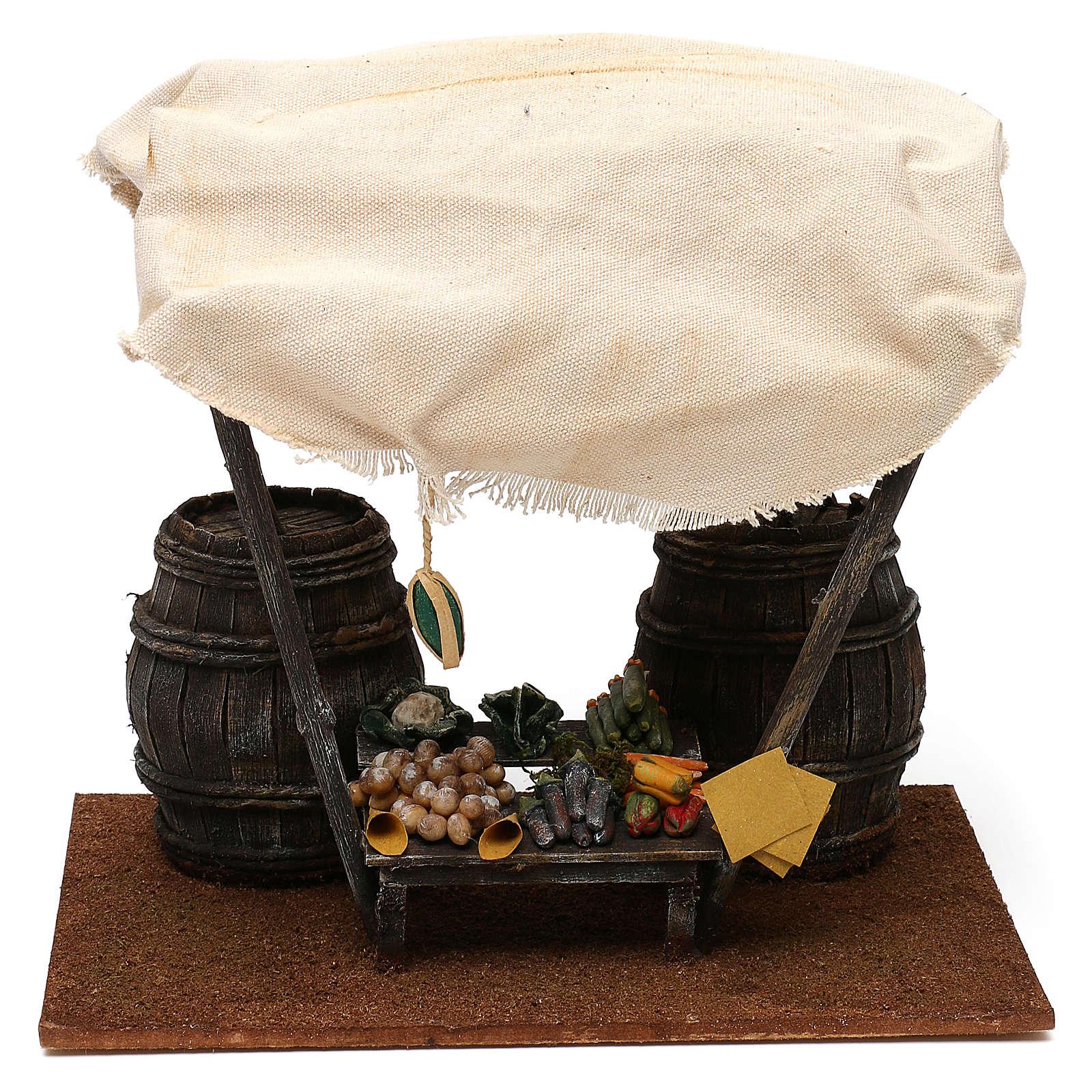 Mostrador verdulero con barriles belén 12 cm 20x25x20 cm 4