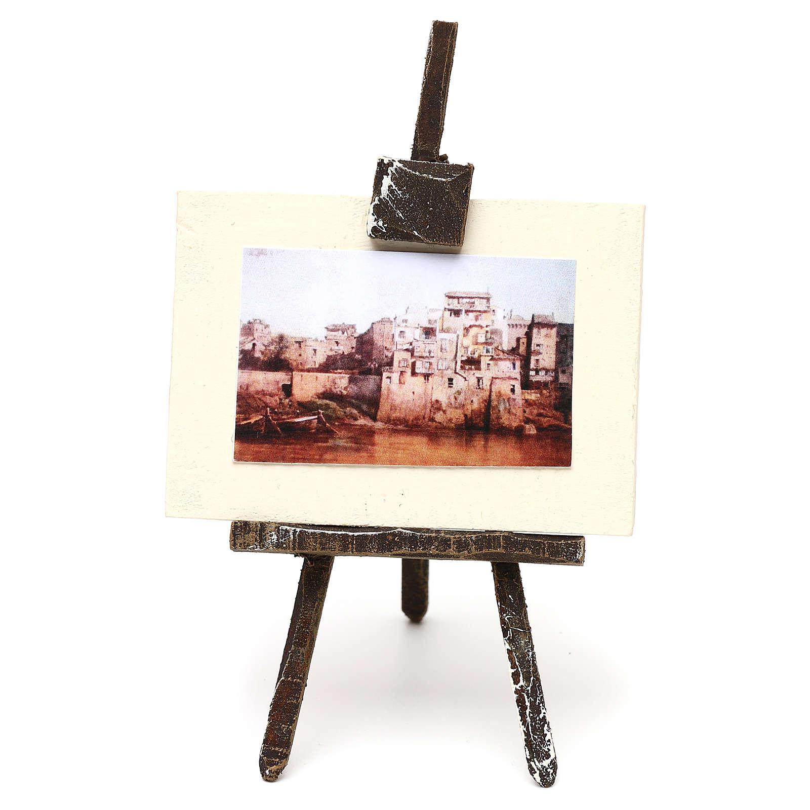 Cavalletto con tela pittore presepe 12 cm 10x5x5 cm 4