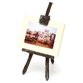 Cavalletto con tela pittore presepe 12 cm 10x5x5 cm s2
