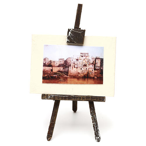Cavalletto con tela pittore presepe 12 cm 10x5x5 cm 1