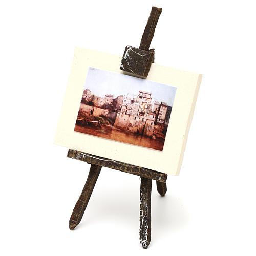 Cavalletto con tela pittore presepe 12 cm 10x5x5 cm 2