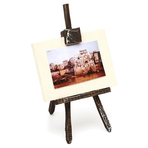 Cavalletto con tela pittore presepe 12 cm 10x5x5 cm 3