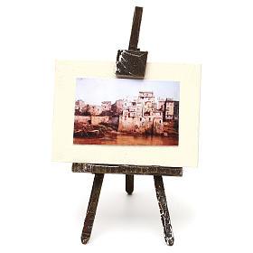 Ambientações para Presépio: lojas, casas, poços: Cavalete com tela de pintor 10x5x5 cm para presépio com figuras de 10 cm de altura média