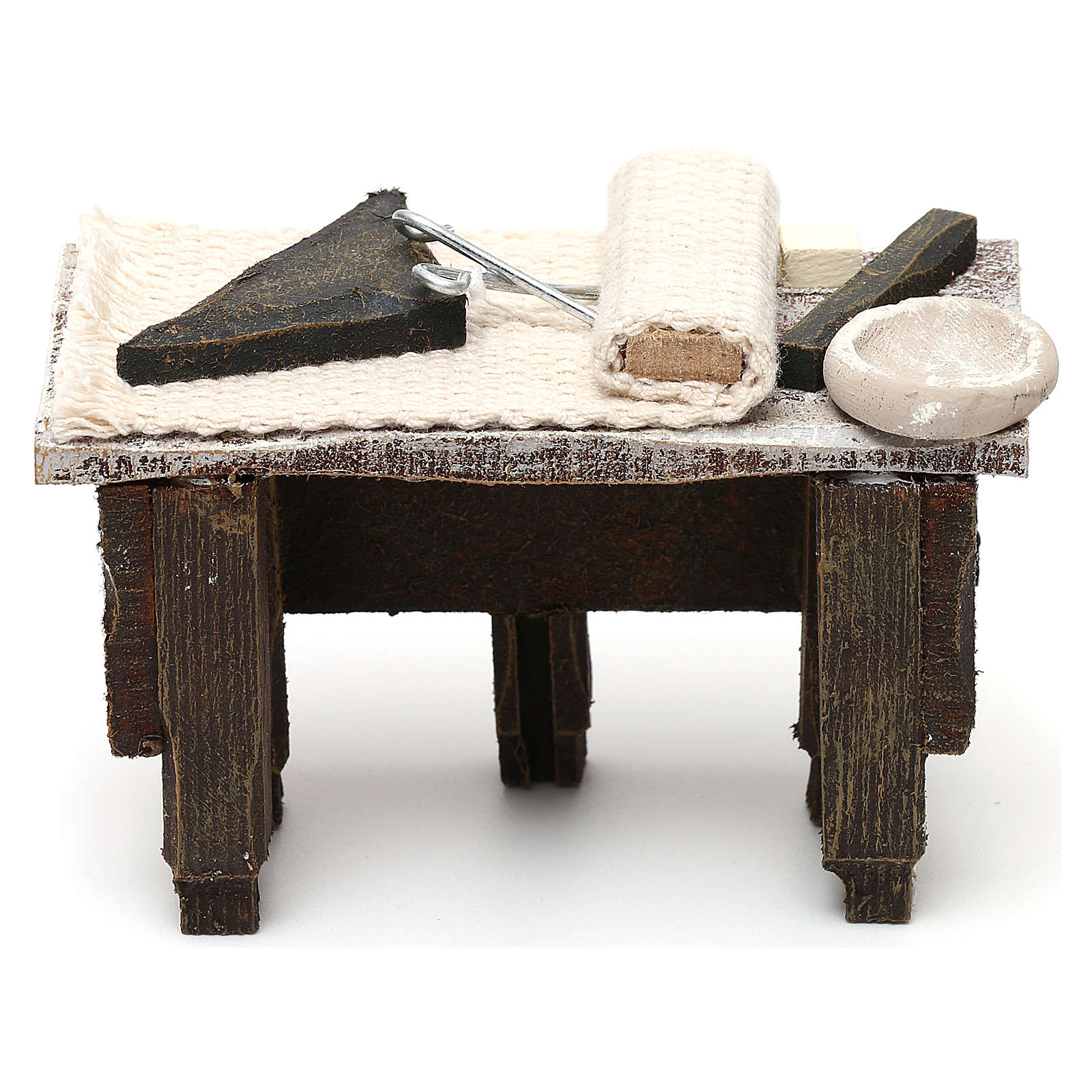 Tavolo sarto con stoffa presepe 10 cm 5x10x5 cm 4