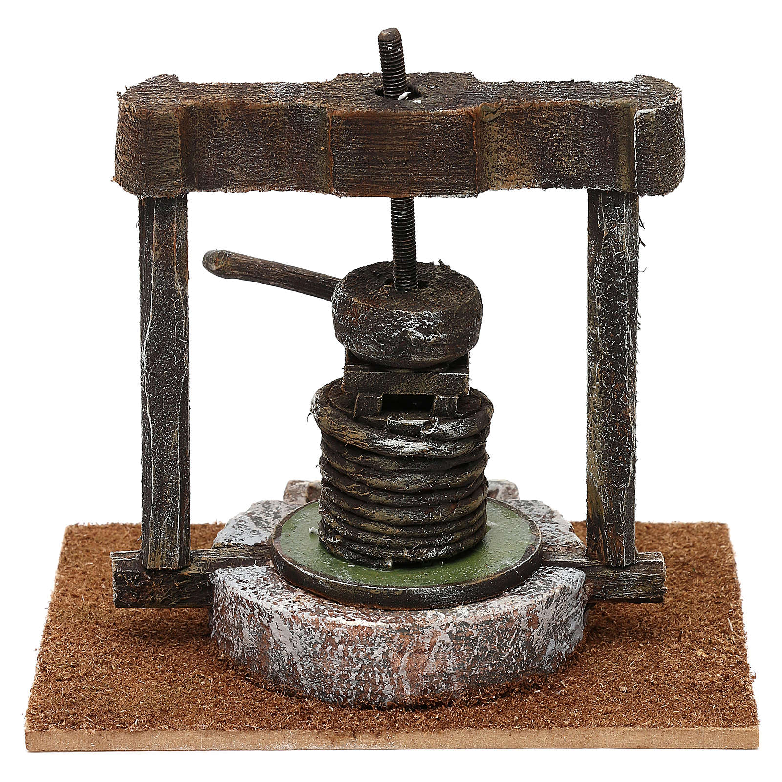 Torchio resina e legno presepe 10 cm 15x15x10 cm 4