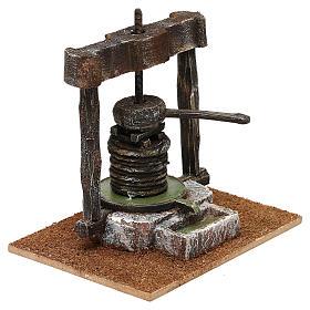 Torchio resina e legno presepe 10 cm 15x15x10 cm s3