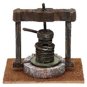 Torchio resina e legno presepe 10 cm 15x15x10 cm s4