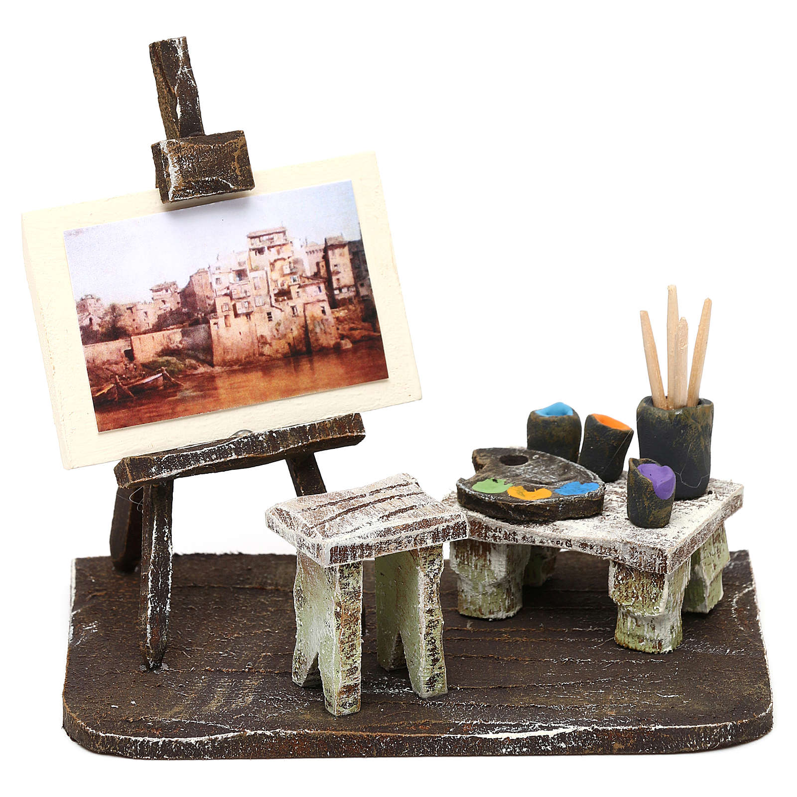 Atelier pittore con cavalletto presepe 10 cm 10x10x5 cm 4