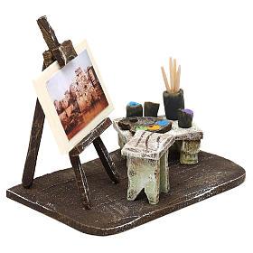 Atelier pittore con cavalletto presepe 10 cm 10x10x5 cm s3