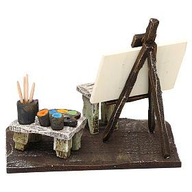 Atelier pittore con cavalletto presepe 10 cm 10x10x5 cm s4