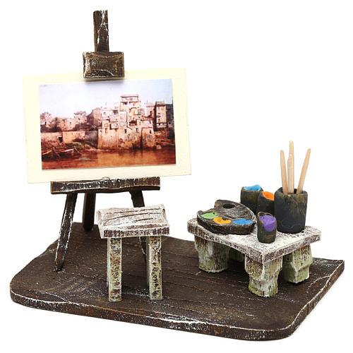 Atelier pittore con cavalletto presepe 10 cm 10x10x5 cm 2