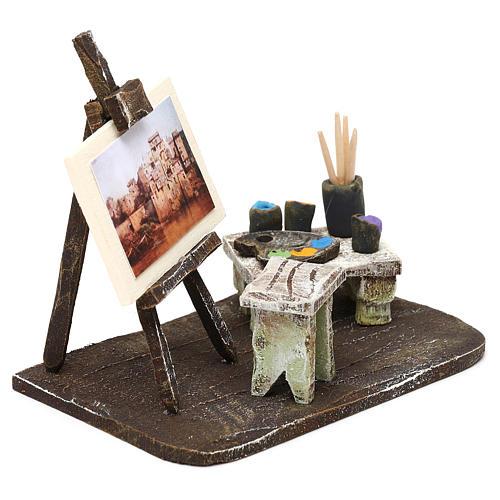 Atelier pittore con cavalletto presepe 10 cm 10x10x5 cm 3