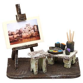 Ambientações para Presépio: lojas, casas, poços: Atelier de pintor com cavalete 10x10x5 cm para presépio com figuras de 10 cm de altura média