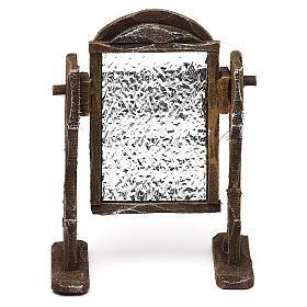 Specchiera legno ed alluminio presepi 12 cm 10x10x5 cm s1