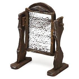 Specchiera legno ed alluminio presepi 12 cm 10x10x5 cm s2