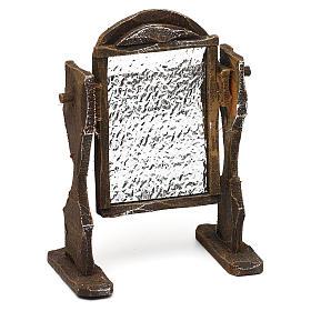 Specchiera legno ed alluminio presepi 12 cm 10x10x5 cm s3