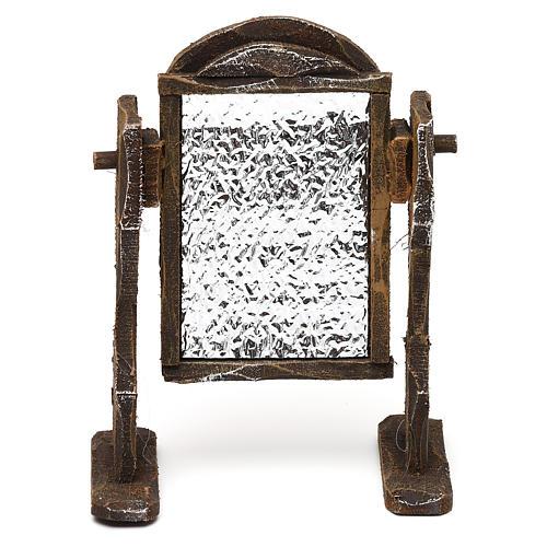 Specchiera legno ed alluminio presepi 12 cm 10x10x5 cm 1