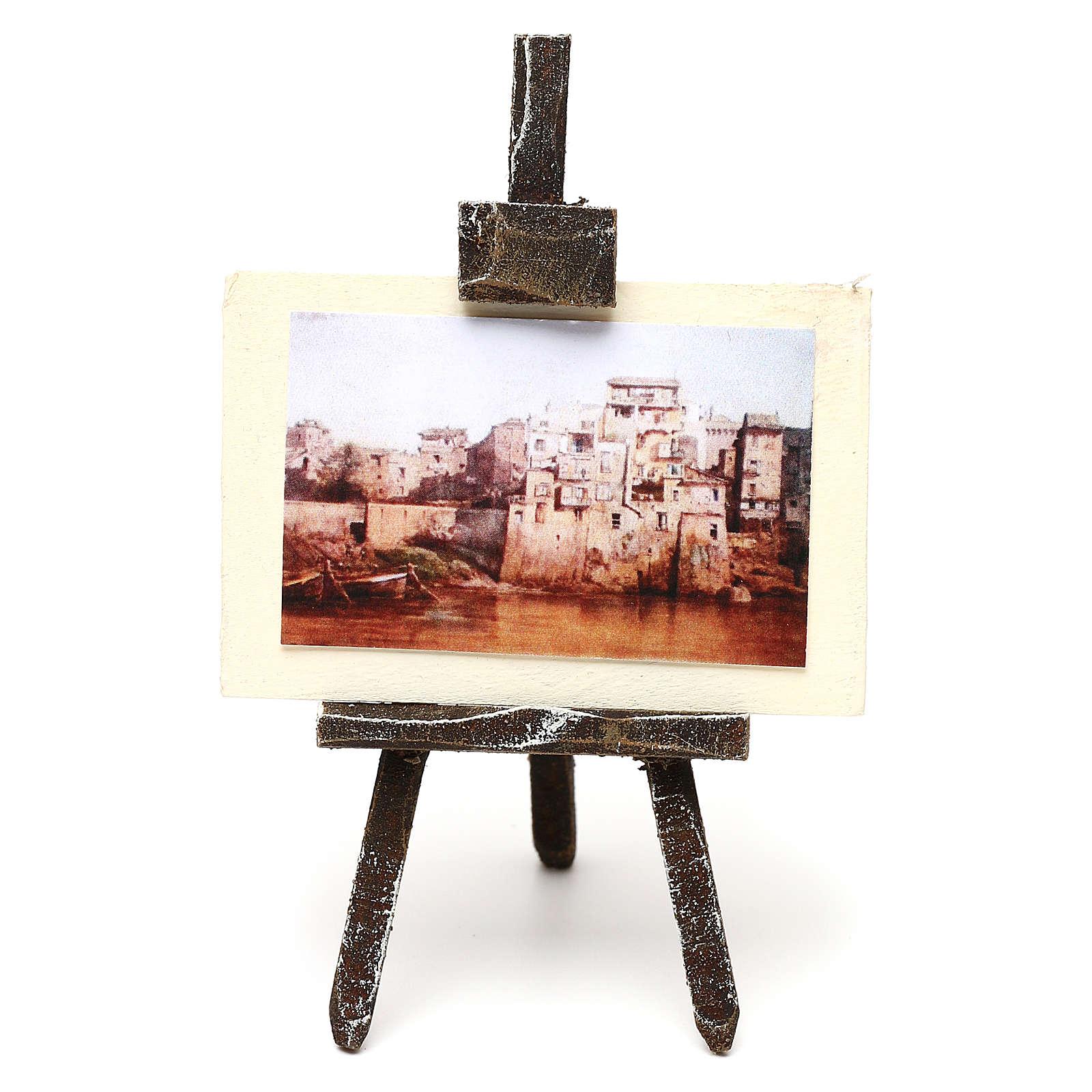 Caballete pintor con paisaje belén 10 cm 10x5x5 cm 4