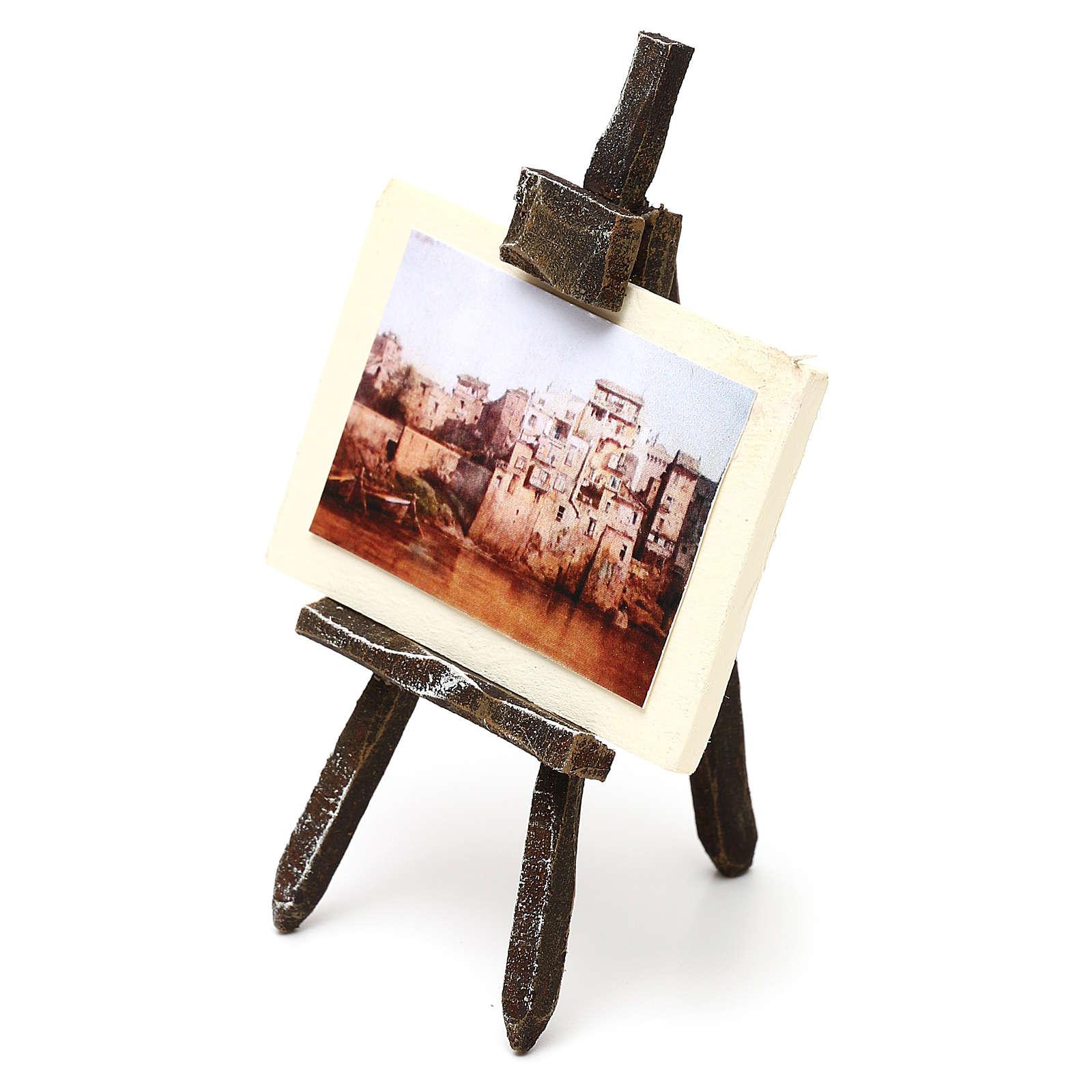 Cavalletto pittore con paesaggio presepe 10 cm 10x5x5 cm 4