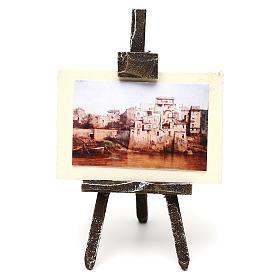 Cavalletto pittore con paesaggio presepe 10 cm 10x5x5 cm s1
