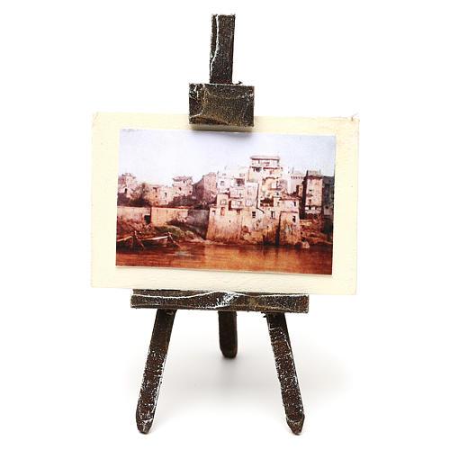 Cavalletto pittore con paesaggio presepe 10 cm 10x5x5 cm 1