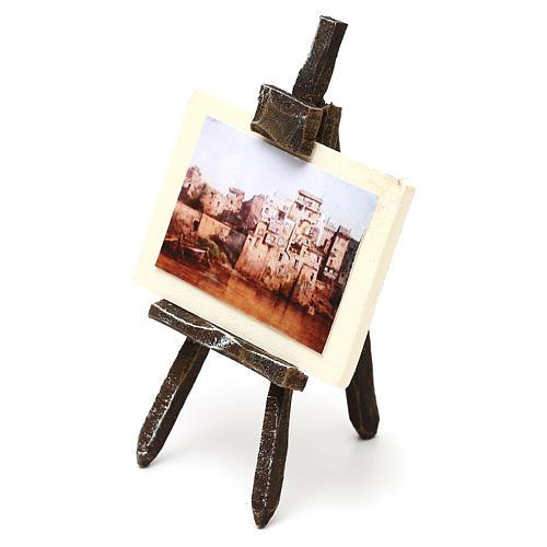 Cavalletto pittore con paesaggio presepe 10 cm 10x5x5 cm 2