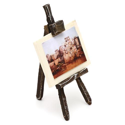 Cavalletto pittore con paesaggio presepe 10 cm 10x5x5 cm 3