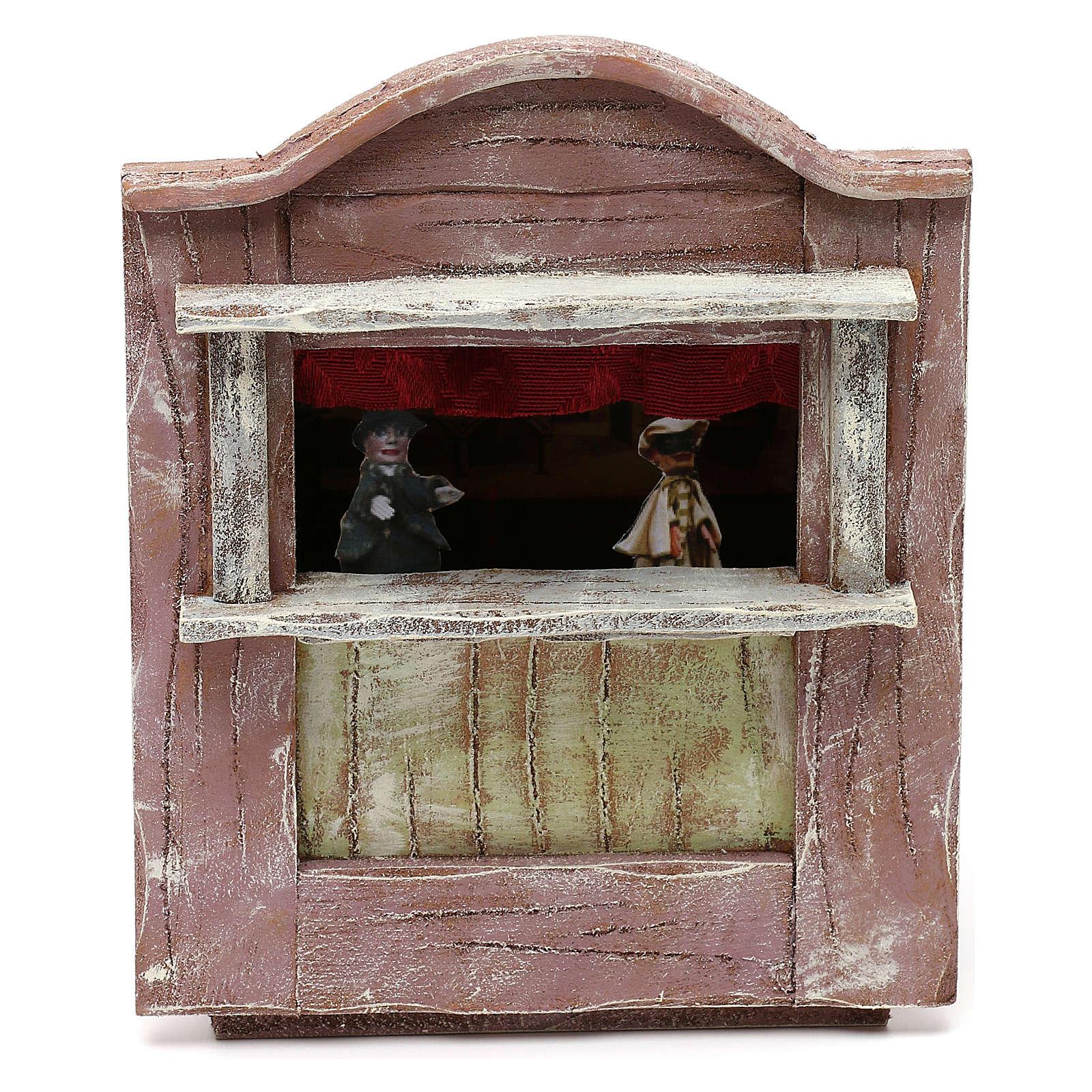 Teatrino marionette legno presepe 10 cm 20x15x10 cm 4