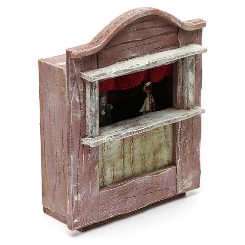 Teatrino marionette legno presepe 10 cm 20x15x10 cm 3