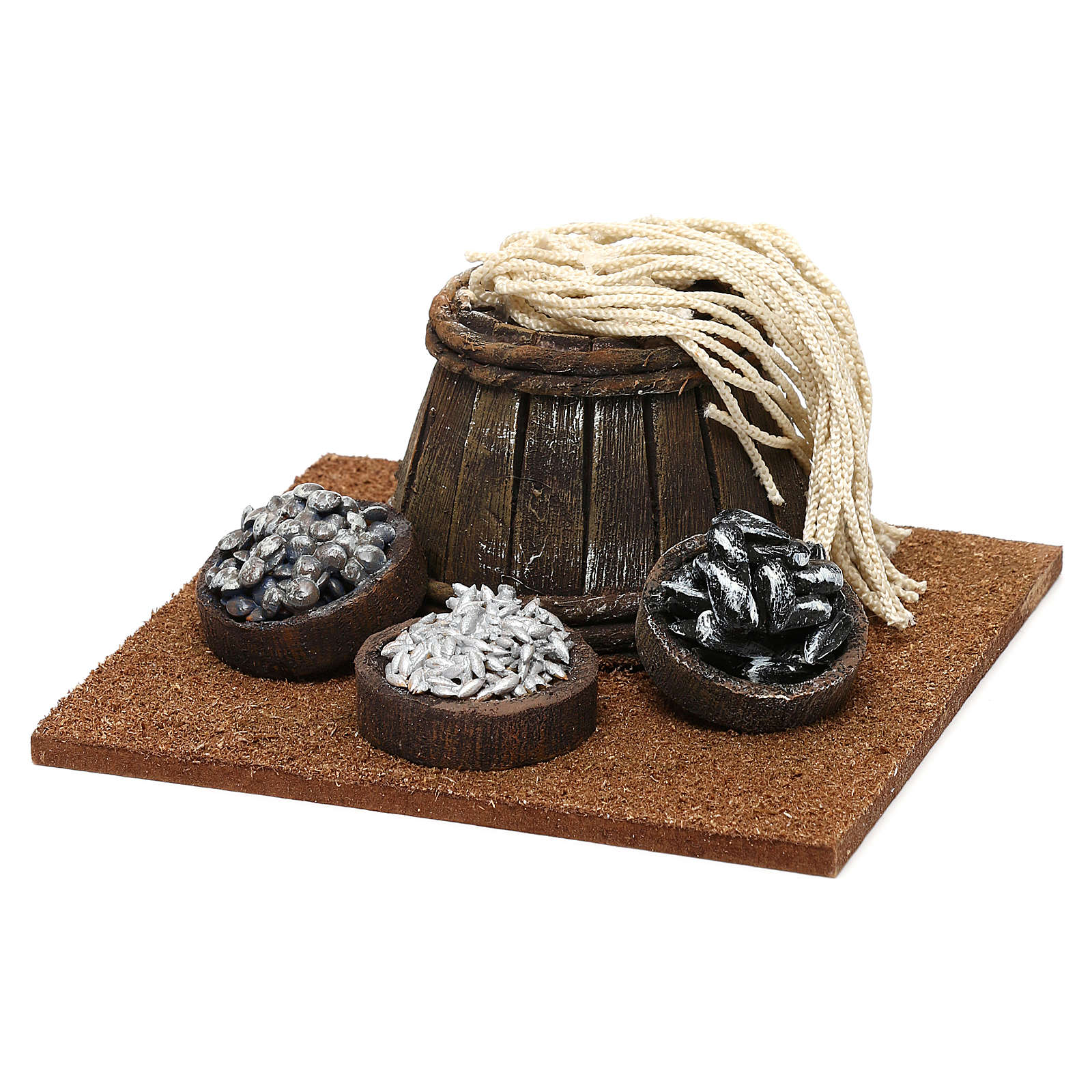 Fishmonger setting with barrel for 10 cm Nativity scene, 10x5x10 cm 4