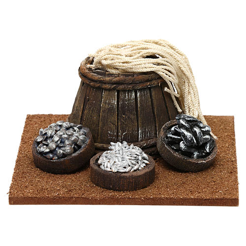 Fishmonger setting with barrel for 10 cm Nativity scene, 10x5x10 cm 1