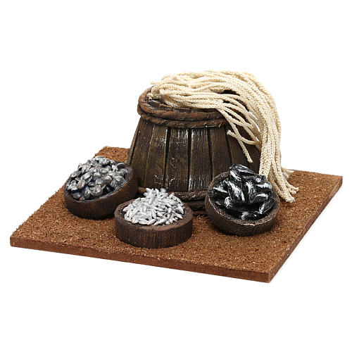 Fishmonger setting with barrel for 10 cm Nativity scene, 10x5x10 cm 2
