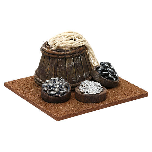 Fishmonger setting with barrel for 10 cm Nativity scene, 10x5x10 cm 3