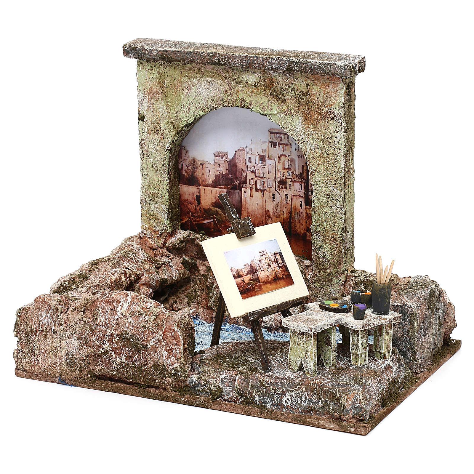 Street artist setting for 12 cm Nativity scene, 20x25x15 cm 4