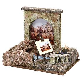 Street artist setting for 12 cm Nativity scene, 20x25x15 cm s2